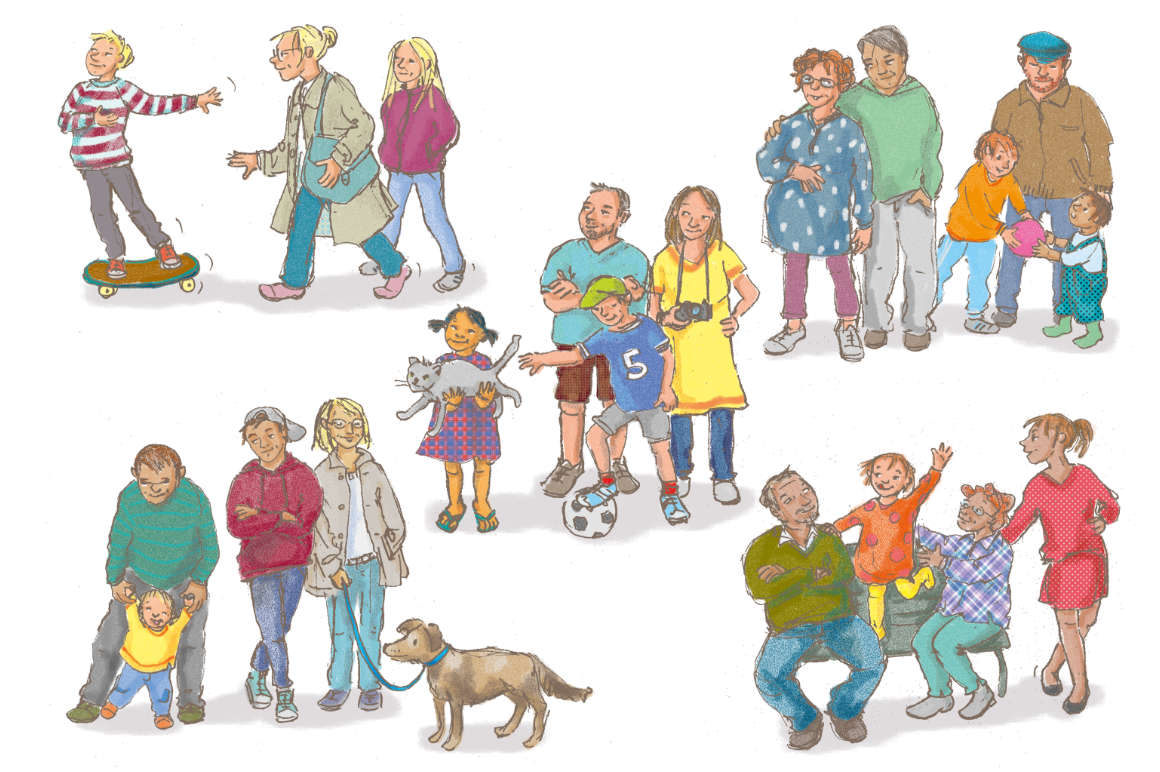 ulrikebahl-illustration-Schulbuch-Religion-Familien