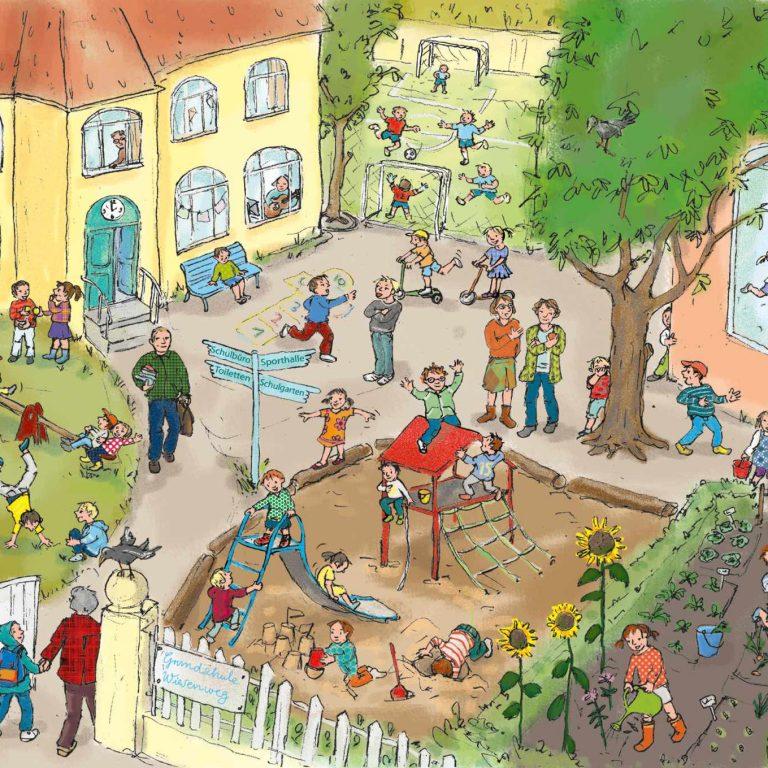 ulrikebahl-illustration-wimmelbild-schulhof